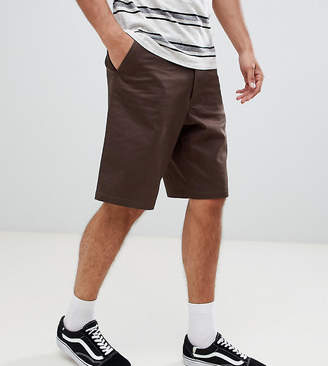 Asos Design DESIGN Tall slim longer shorts in dark brown