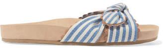 Loeffler Randall Beattie Bow-detailed Striped Canvas Slides - Blue