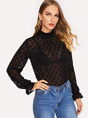 Shein Frilled Cuff Polka Dot Sheer Top Without Bra