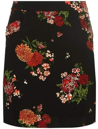 Dorothy Perkins Womens Black Floral Mini Skirt