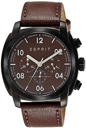 Esprit Donton Chrono Men's Quartz Watch with Brown Dial Chronograph Display and Brown Leather