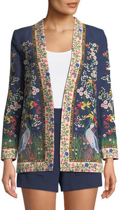 Jenice Floral-Embroidered Long Linen Blazer