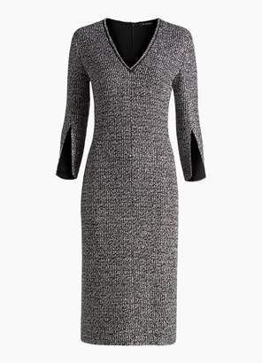 St. John Opulent Tweed Knit V-Neck Dress