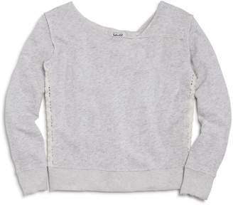 Splendid Girls' French Terry Sweatshirt with Lace Panels