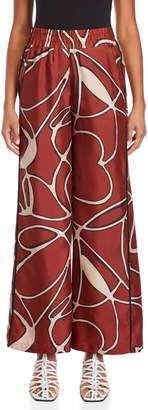 Alysi Brown Printed Silk Pants