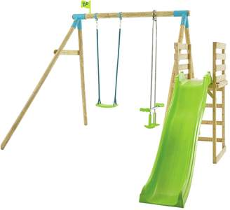 TP Toys Kite Wood Double Swing Set with 8ft Wavy Slide