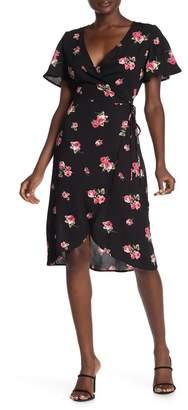 Luna Chix LUNACHIX Flutter Sleeve Floral Wrap Dress