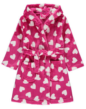 George Pink Heart Print Dressing Gown