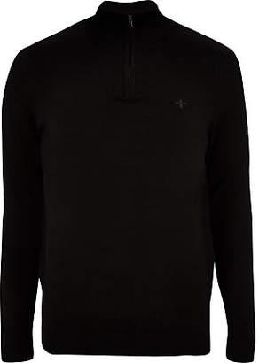 River Island Black zip-up slim fit funnel neck sweater