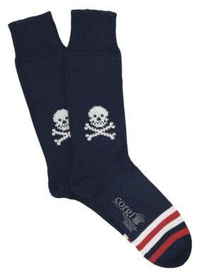 Corgi Heavyweight Skull Socks in Navy