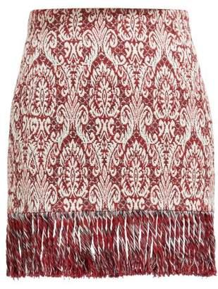 Chloé Tasselled Tapestry Cotton Blend Mini Skirt - Womens - Burgundy White