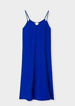 Women's Cobalt Blue Silk-Blend Cami Dress
