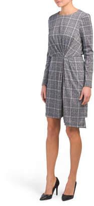 Long Sleeve Drape Plaid Dress