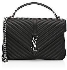 Saint Laurent Women's Large Collà ̈ge Matelassé Leather Bag