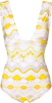 Emilio Pucci printed plunge swimsuit