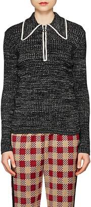 Dries Van Noten Women's Rib-Knit Merino Wool-Blend Quarter-Zip Sweater