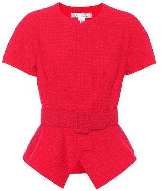 Oscar de la Renta Belted wool-blend top
