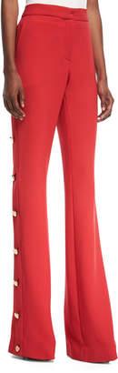 Prabal Gurung High-Waist Flared-Leg Crepe Pants with Side-Button Detail