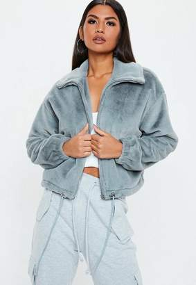 Missguided Gray Faux Fur Bomber Jacket