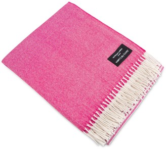 Heating & Plumbing London Merino Lambswool Throw White & Fuchsia