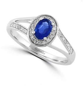 Effy 0.13 TCW Diamond and Sapphire 14K White Gold Ring