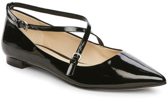 nine west Black Anastagia Strappy Pointed Toe Flats $89 thestylecure.com