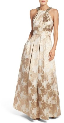 Women's Eliza J Embellished Floral Jacquard Fit & Flare Gown $308 thestylecure.com