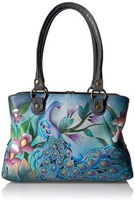 Anuschka Women's Genuine Leather Large Satchel | Hand Painted Original Artwork | Zip-Top Shoulder Bag | Midnight Peacock