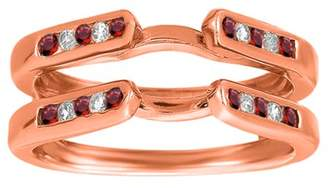 TwoBirch Genuine Ruby Mounted In Sterling Silver Channel Set Cathedral Style Ring Guard (0.2ctw)