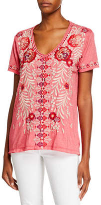 Johnny Was Maya Everyday V-Neck Embroidered Easy Tee