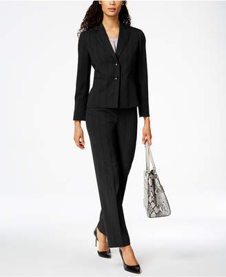 Le Suit Tonal-Stripe Two-Button Pantsuit