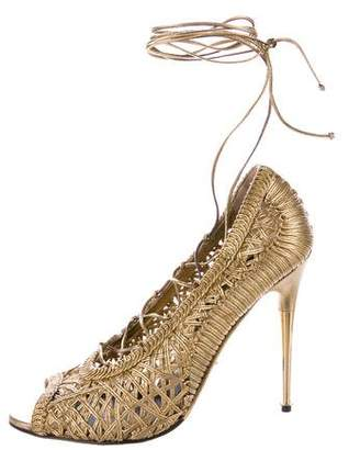 Tom Ford Metallic Lace-Up Pumps