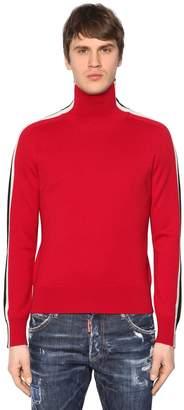 DSQUARED2 Turtleneck Wool Sweater W/ Stripes