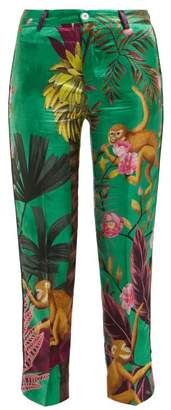 F.R.S – For Restless Sleepers F.r.s For Restless Sleepers - Tartaro Palm And Monkey Print Twill Trousers - Womens - Green Multi
