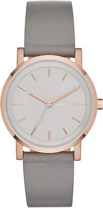 DKNY Women Soho Gray Leather Strap Watch 34mm