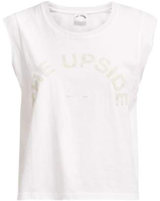 The Upside Flocked Logo Cotton Tank Top - Womens - White