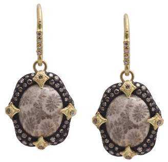 Armenta Old World Blackened Sterling Silver & 18K Yellow Gold Bezel Set Fossilized Coral & Pave Diamond Drop Earrings
