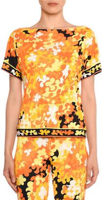 Emilio Pucci Short-Sleeve Hydrangea Print Top