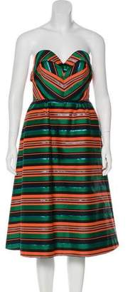 DELPOZO Striped Strapless Dress w/ Tags