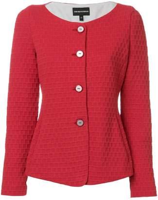 Emporio Armani textured collarless jacket