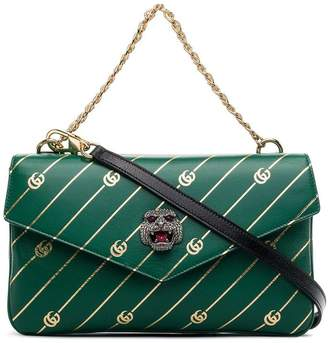 Gucci black and green leather thiara GG tiger head bag