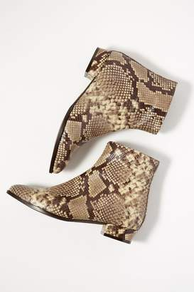 Snakeskin-Print Leather Ankle Boots