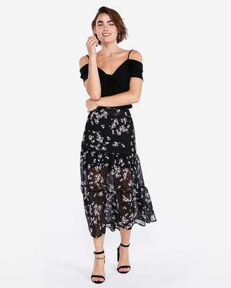 Express Floral Print Tiered Maxi Skirt