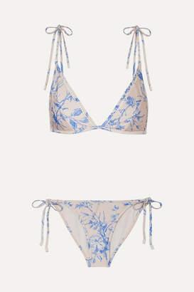 Zimmermann Verity Floral-print Triangle Bikini - Blue