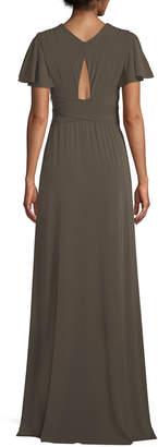 Jersey Flutter-Sleeve Wrap Gown