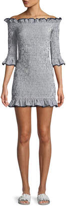 Lovers And Friends Salsita Off-the-Shoulder Smocked Ruffle Mini Dress