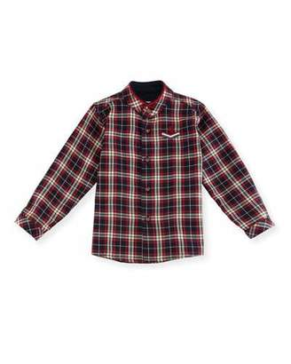 Carrera Pili Plaid Mandarin-Collar Shirt, Size 12M-3T