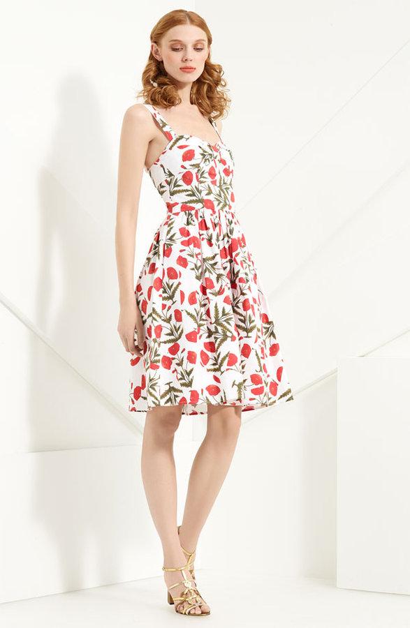 Oscar de la Renta Poppy Print Stretch Cotton Dress