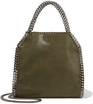 Stella Mccartney Falabella Mini Faux Brushed Leather Shoulder Bag Army Green