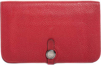Hermes Red Togo Leather Dogon Bifold Wallet